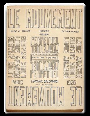 """Typographie utilisée pour la couverture du livre d'Aragon """"Le mouvement perpétuel"""" (1926)"""