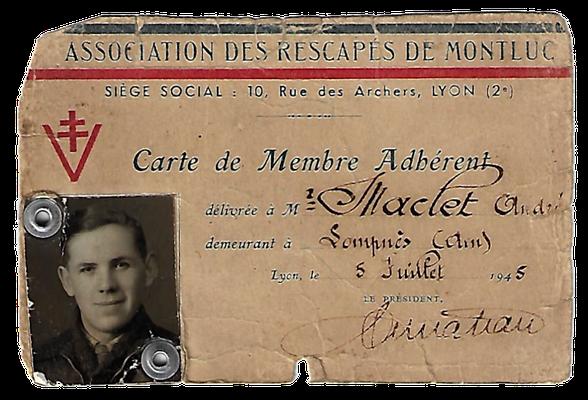Carte d'André Maclet qui fut incarcéré au Fort Montluc à Lyon