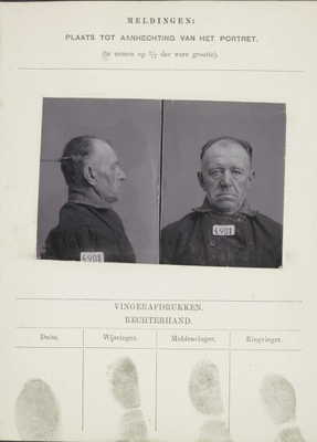 Signalementskaart Veenhuizen opname 09-01-1899