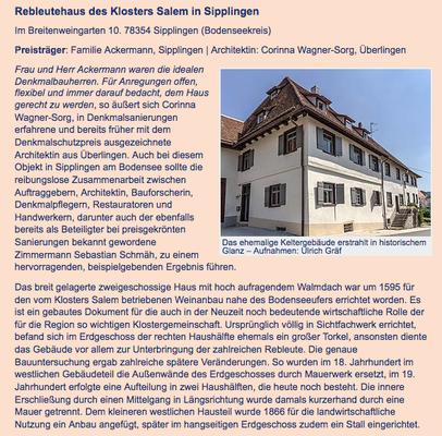 Rebleutehaus des Klosters Salem (Klosterhof1595) in Sipplingen Bodensee