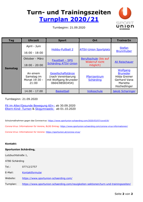 Turn- und Trainingszeiten, Turnplan 2020 & 21, Seite 2v2