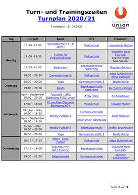 Turn- und Trainingszeiten, Turnplan 2020 & 21, Seite 1v2