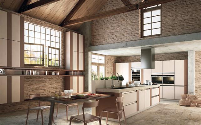 Interruption des lignes horizontales remplacées par des façades latérales verticales ce qui confère un nouvel aspect à la cuisine sans poignée.