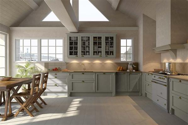 Cuisine contemporaine au style épuré - Poignées coquilles - Piano en harmonie avec le mobilier.