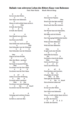 Ballade vom schweren Leben des Ritters Kauz von Rabensee  by Peter Hacks/Marcel Haag - Lyrics und Griffe