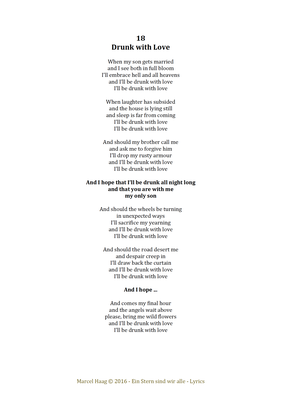 Drunk with Love by Marcel Haag - Lyrics
