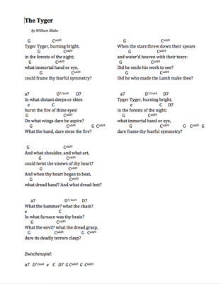 The Tyger by William Blake/Marcel Haag - Lyrics and Chords