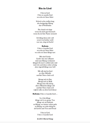 Bin äs Lied by Marcel Haag - Lyrics