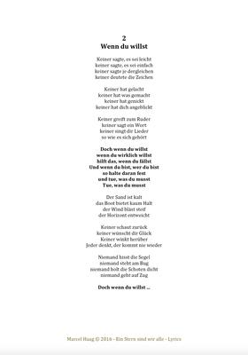 Wenn du willst by Marcel Haag - Lyrics