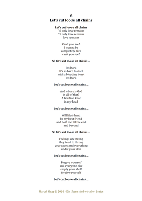 Let's Cutt Loose All Chains by Marcel Haag - Lyrics
