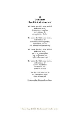 Du kannst das Glück nicht suchen by Marcel Haag - Lyrics