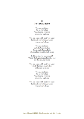 To Texas, Babe by Marcel Haag - Lyrics