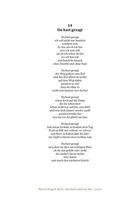 Du hast gesagt by Marcel Haag - Lyrics