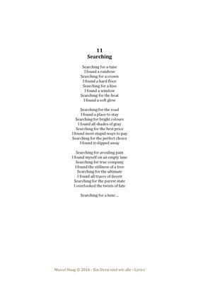 Searching by Marcel Haag - Lyrics
