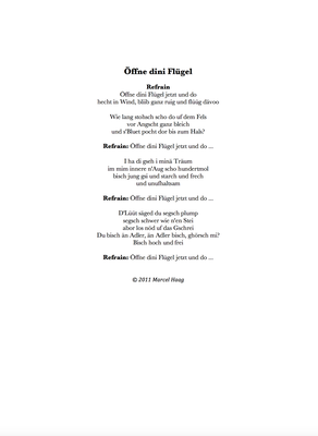 Öffne dini Flügel by Marcel Haag - Lyrics