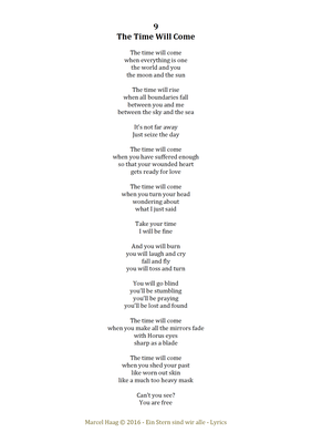 The Time Will Come by Marcel Haag - Lyrics