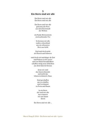 Ein Stern sind wir alle by Marcel Haag - Lyrics
