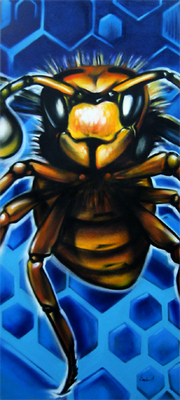 Bild auf Auftrag für Kunde. Spraydose auf Leinwand, 200 cm x 120 cm