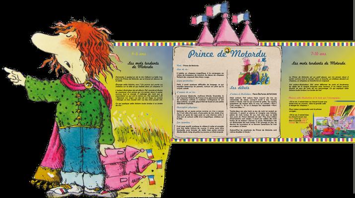 """visuel du module pédagogique """"Prince de Motordu"""", partie haute avec personnage découpé"""