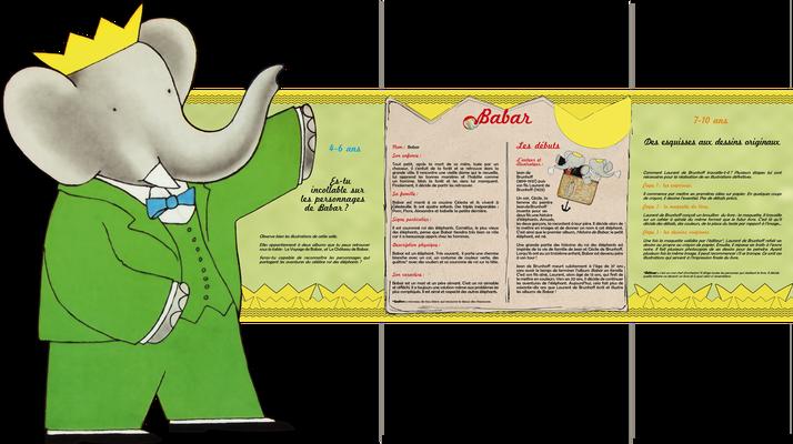"""visuel du module pédagogique """"Babar"""", partie haute avec personnage découpé"""