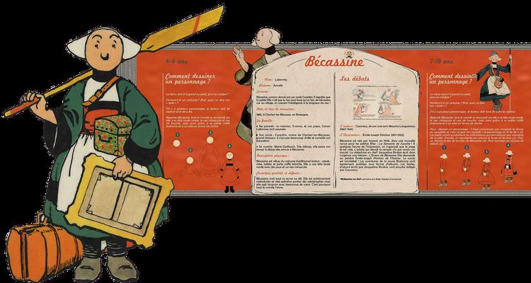 """visuel du module pédagogique """"Bécassine"""", partie haute avec personnage découpé"""