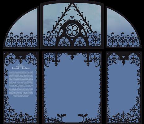 Décor à base de motifs végétaux ayant pour but de présenter les textes de salle tout en occultant les grandes baies vitrées. Celui-ci est conçu comme un écrin à l'oeuvre.