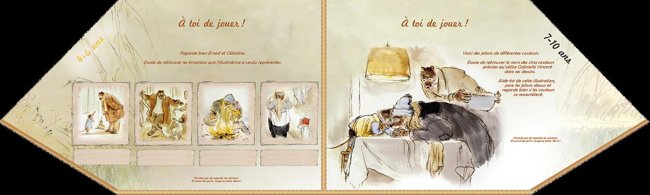 """visuel du module pédagogique """"Ernest et Célestine"""", partie basse ou plateau avec manipulation"""