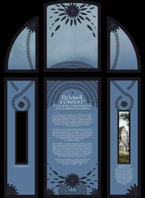 Décor à base de motifs végétaux ayant pour but de présenter les textes de salle tout en occultant les grandes baies vitrées.