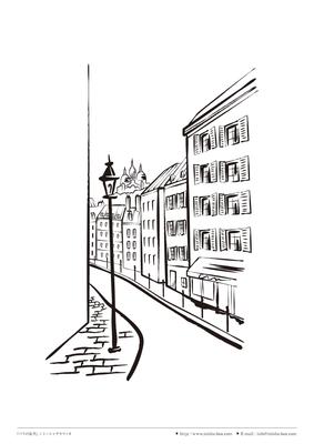 カット線画『パリの街角』