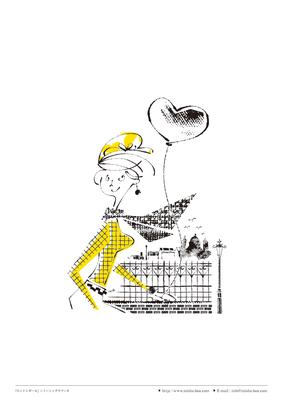 カット線画『ロンドンレディ』