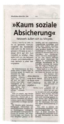 """""""Kaum soziale Absicherung - Netzwerk äußert sich zu Minijobs"""" (WB Nr. 224)"""