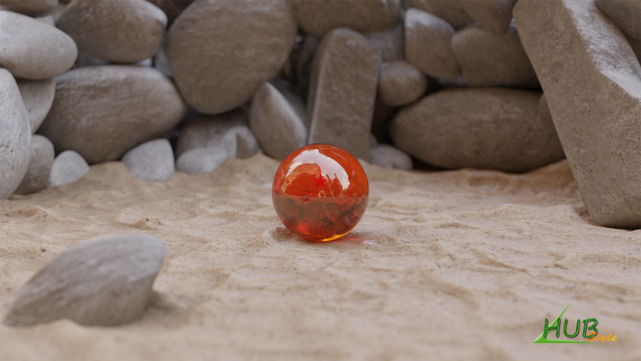 Modélisation + texturing décor et boule de cristal (Blender)