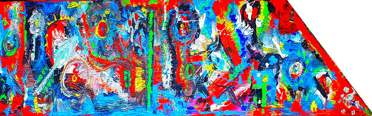 """""""o.T."""" / Werkverzeichnis 4.267 / Gefertigt im Jahre 2018 Farbkomposition auf Holz Maße l oben 110,0 cm / l unten 140,0 cm / b 35,0 cm"""
