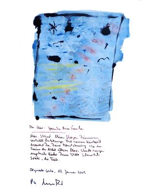 Sprechbild vom 12. Januar 2009. Originalgrafik mit Ölkreide, Aquarell und Bleistifttext auf 200-g-Papier. Größe b 35,0 cm * h 50,0 cm. Werkverzeichnis 3842.