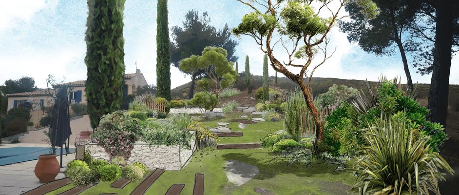 Conception d'un jardin sans arrosage à Coudoux © Rc-Paysage