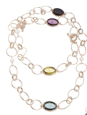 Gold necklace with purple, blue, yellow stones