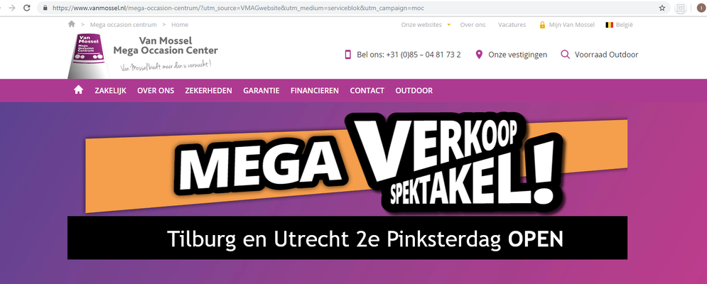 Online bannering - Automotive Sales Event - Van Mossel Mega Occasion Centrum Tilburg - 90 verkochte auto's in 1 weekend - juni 2019