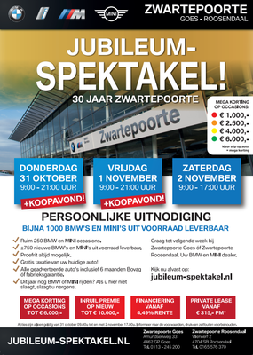 Direct Mailing - Automotive Sales Event - Zwartepoorte Goes & Roosendaal - BMW-MINI - oktober-november 2019 - 40 verkochte auto's in 1 weekend
