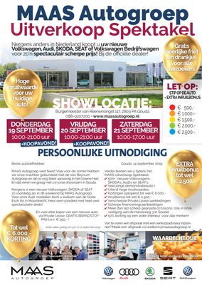 Direct Mailing - Automotive Sales Event - MAAS Autogroep Gouda - Volkswagen-Audi-SEAT-ŠKODA - september 2019 - 51 verkochte auto's in 1 weekend