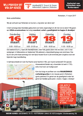 DM - Automotive Sales Event - Mailing Autobedrijf Troost Hellevoetsluis/Rotterdam - KIA