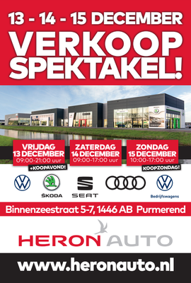 Buitenreclame - Automotive Sales Event - HERON Auto Purmerend - Volkswagen-Audi-SEAT-ŠKODA - 100 verkochte auto's in 1 weekend - december 2019