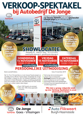 Direct Mailing - Automotive Sales Event - De Jonge Goes - Toyota - november 2019 - 44 verkochte auto's in 1 weekend