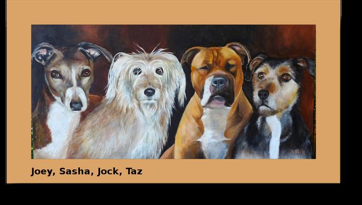 Joey, Sasha, Jock und Taz, Öl auf Leinwand