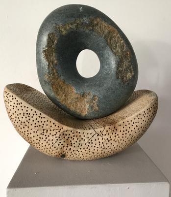 Mondauge, Skulptur, grüner Speckstein / Linde, 42 cm hoch, © Susanne Musfeldt-Gohm, 2017