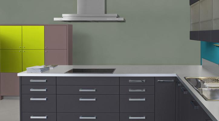 RAL 7033 - Gris ciment et meubles cuisine noirs
