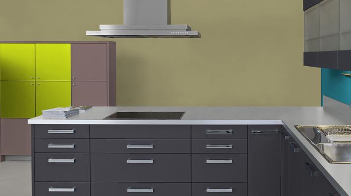 RAL 1020 - Jaune Olive et meubles de cuisine noirs