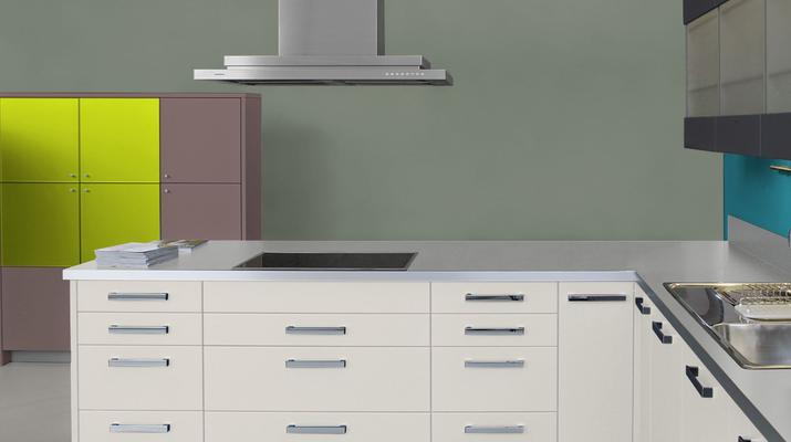 RAL 7033 - Gris ciment et meubles cuisine blancs