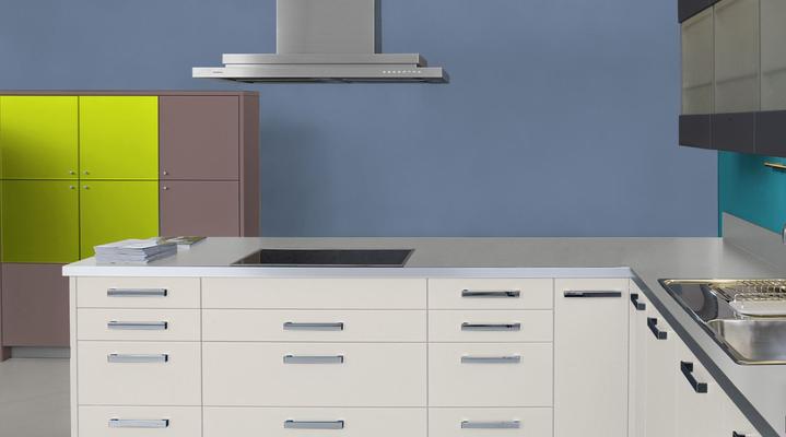 RAL 5014 - Bleu pigeon et meubles cuisine blancs
