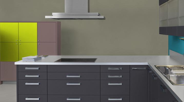 RAL 7002 - Gris olive et meubles cuisine noirs
