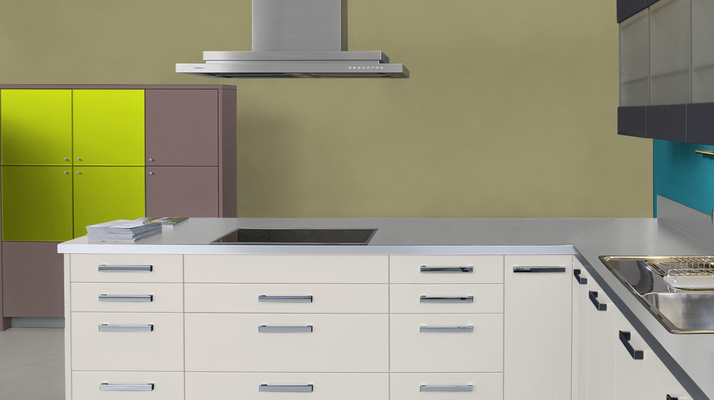RAL 1020 - Jaune Olive et meubles de cuisines blancs